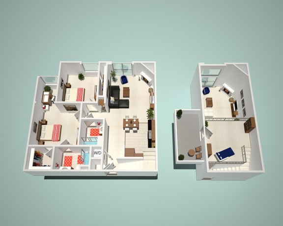 2 Bed - 2 Bath C1-CR1 - Penthouse Floor Plan at The Social, California, 91601