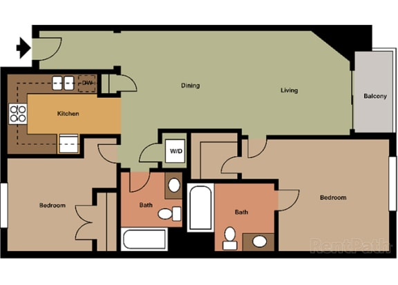2 Bed - 2 Bath Capri Floor Plan at Le Blanc Apartment Homes, Canoga Park, CA