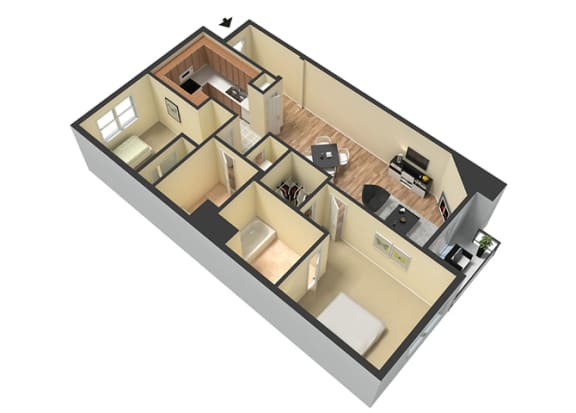 Floor Plan  Furnished Units Available  at Le Blanc Apartment Homes, Canoga Park, CA, 91304