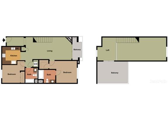 2 Bed - 2 Bath Capri Loft Floor Plan at Le Blanc Apartment Homes, Canoga Park