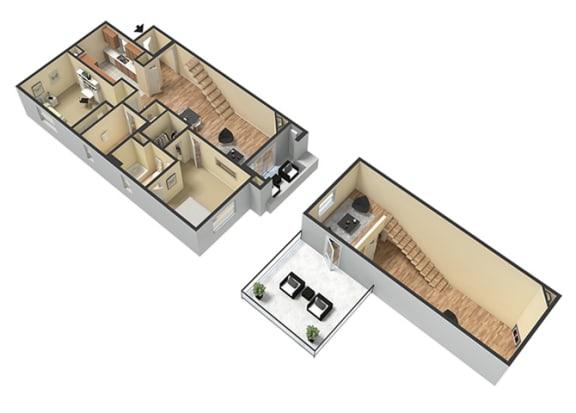 2 Bed - 2 Bath Capri Loft Floor Plan at Le Blanc Apartment Homes, Canoga Park, California