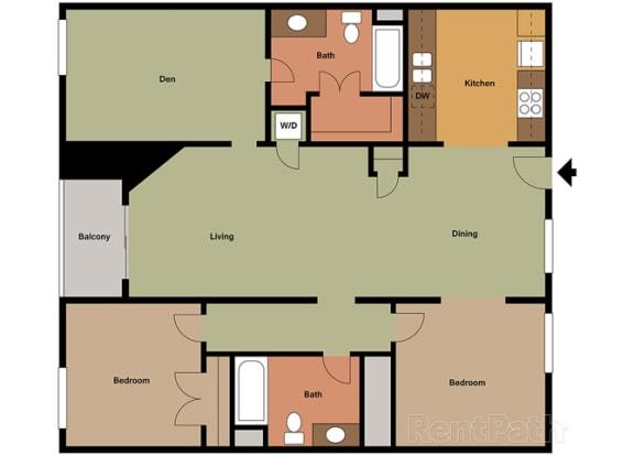 Marbella Den Floor Plan at Le Blanc Apartment Homes, Canoga Park, CA, 91304