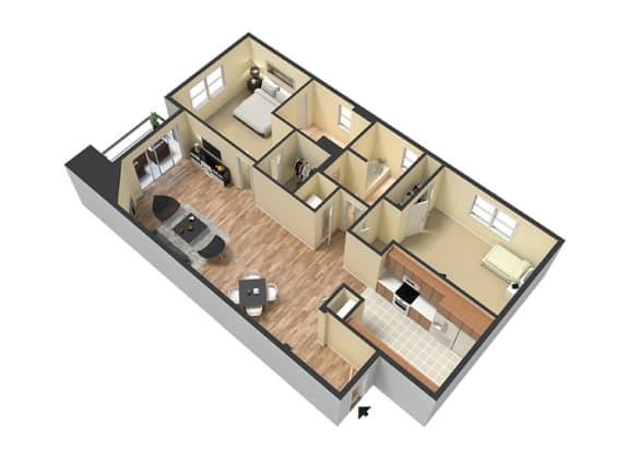 Floor Plan  2 Bed - 2 Bath Santorini Floor Plan at Le Blanc Apartment Homes, Canoga Park