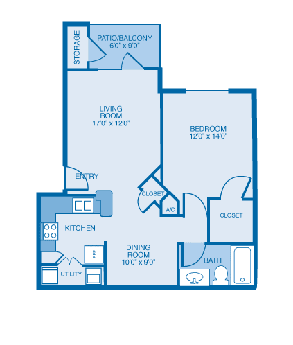 Aspen Floor Plan at Ethan Pointe Apartments, Burlington