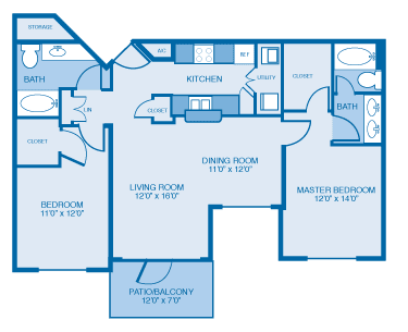 Lexington Floor Plan at Ethan Pointe Apartments, North Carolina, 27215