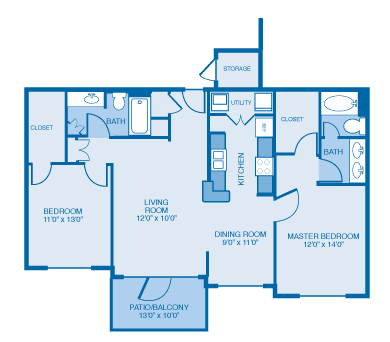 Jacobean Floor Plan at Ethan Pointe Apartments, Burlington, NC, 27215