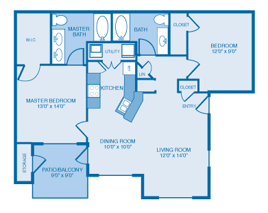 Mission Floor Plan at Ethan Pointe Apartments, Burlington, NC