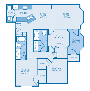 Fairfield Floor Plan at Ethan Pointe Apartments, Burlington, 27215