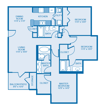 Georgian Floor plan at Ethan Pointe Apartments, Burlington
