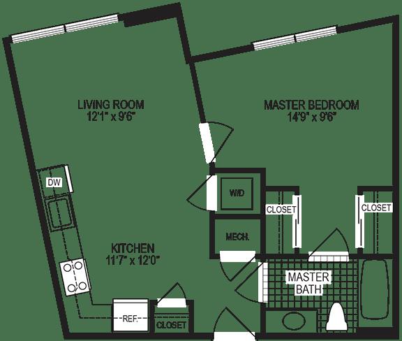Alloy 1 Bedroom Floorplan