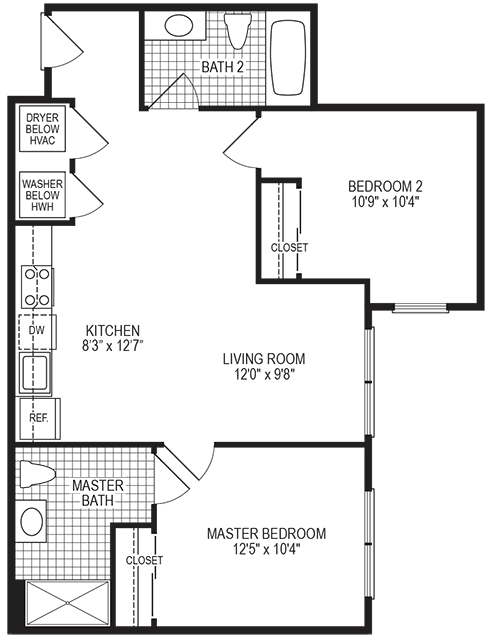 Celcius 2 Bedroom Floorplan