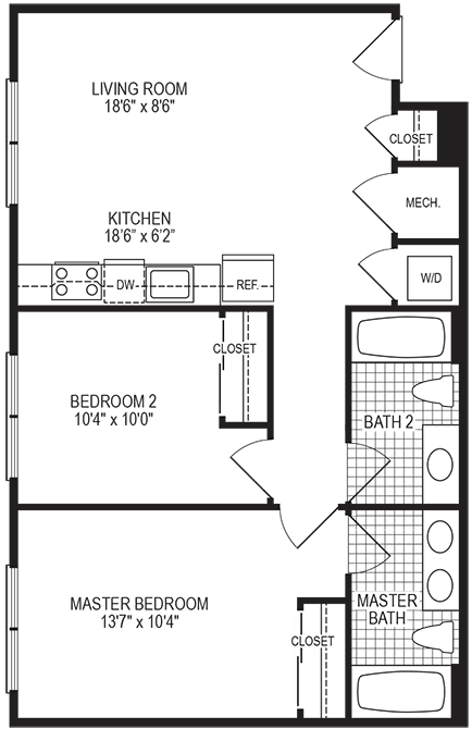 Degree 2 Bedroom Floorplan