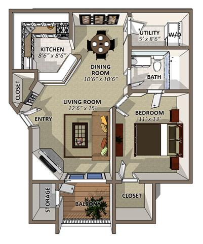 The Gardenia Floor Plan at Sawgrass Apartments in Orlando FL