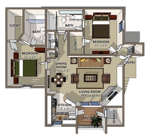 The Camilia Floor Plan at Sawgrass Apartments in Orlando FL