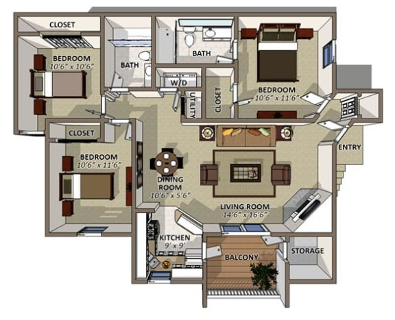 The Poinsettia Floor Plan at Sawgrass Apartments in Orlando FL