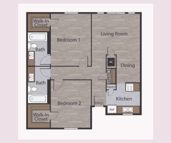B1 2 Bed 2 Bath Apartments in Mesh II at Mesh Properties, Austin