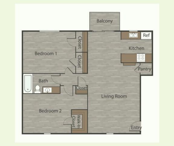 B2 2 Bed 1 Bath Apartments in Mesh I at Mesh Properties, Austin, Texas