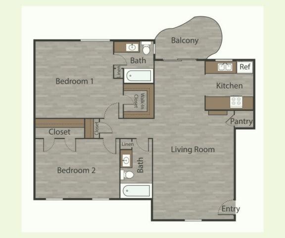 B4 2 Bed 1 Bath Apartments in Mesh I at Mesh Properties, Texas