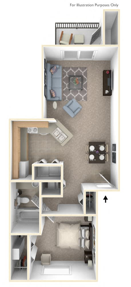 One Bedroom One Bath Floor Plan at Arbor Lakes Apartments, Elkhart, IN