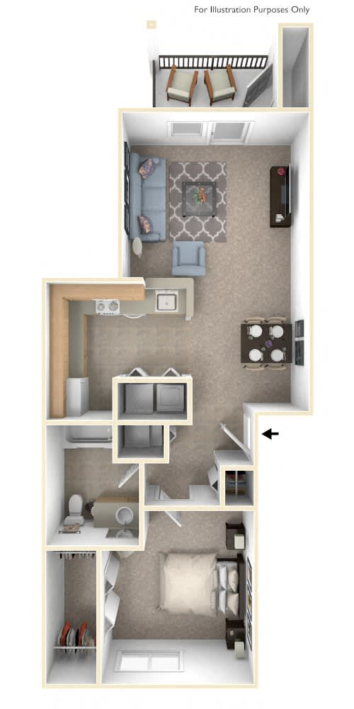 1 Bed 1 Bath Traditional One Bedroom Floor Plan at Black Sand Apartment Homes, Lincoln, Nebraska