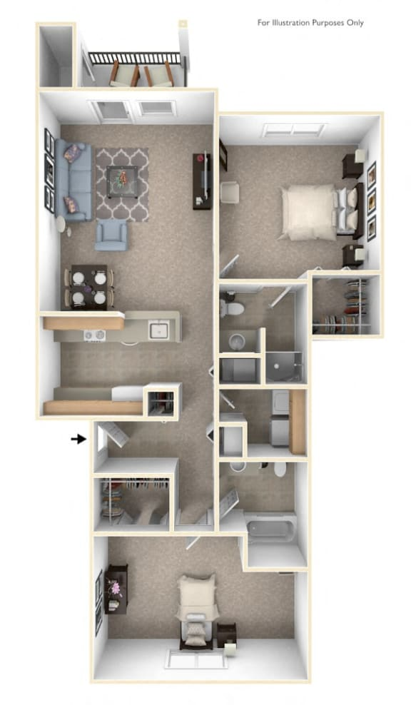 2 Bed 2 Bath Two Bedroom (Style II) Floor Plan at Black Sand Apartment Homes, Nebraska