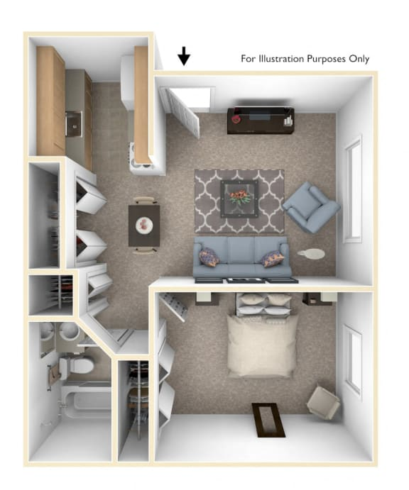One Bedroom Floor Plan at Brookside Apartments, Michigan, 49037