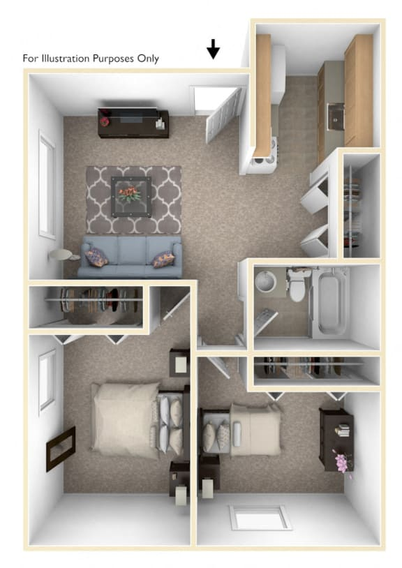 Two Bedroom Floor Plan at Brookside Apartments, Springfield, MI, 49037