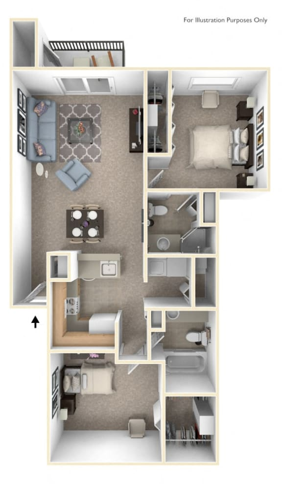 2 Bed 2 Bath Traditional Two Bedroom Floor Plan at Byron Lakes Apartments, Byron Center, 49315