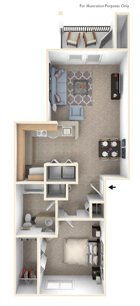 One Bedroom One Bath - Bridge Floorplan at Colonial Pointe at Fairview Apartments, Bellevue
