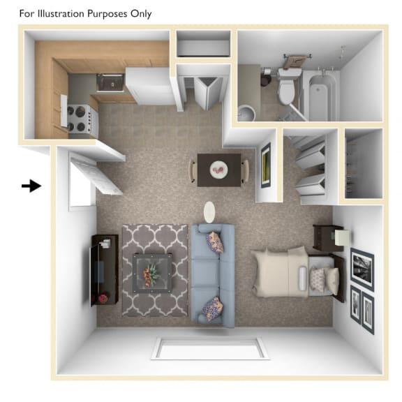 Studio Apartment Floor Plan at Concord Place Apartments, Kalamazoo, MI