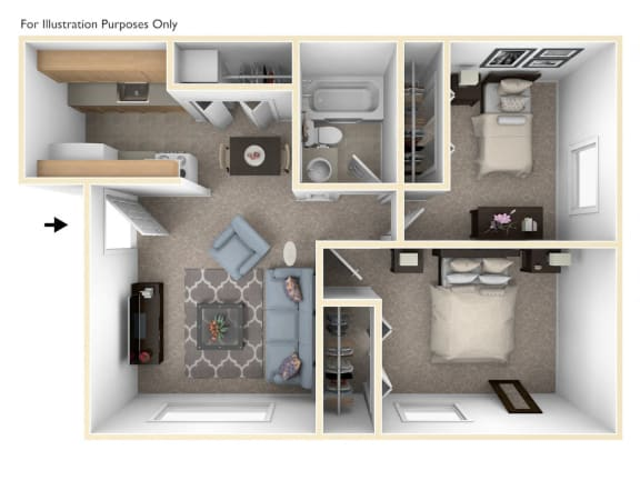 Two Bedroom One Bath Floor Plan at Concord Place Apartments, Kalamazoo, Michigan