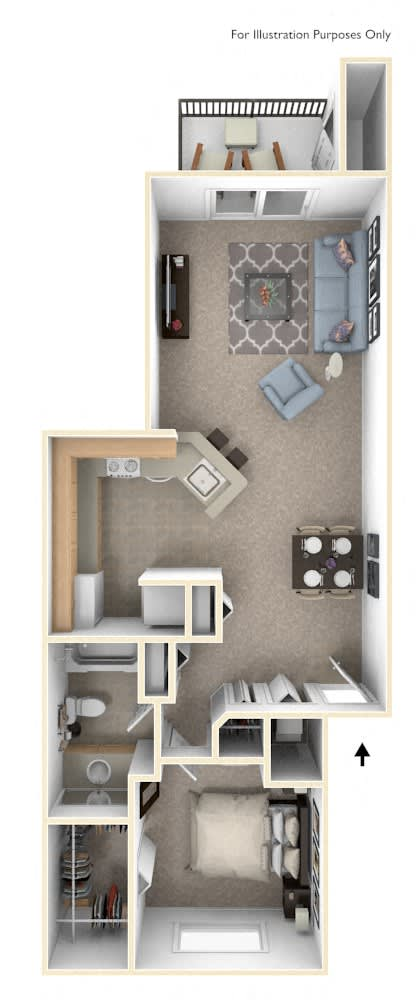 One Bedroom One Bath Floorplan at Emerald Park Apartments, Kalamazoo, Michigan