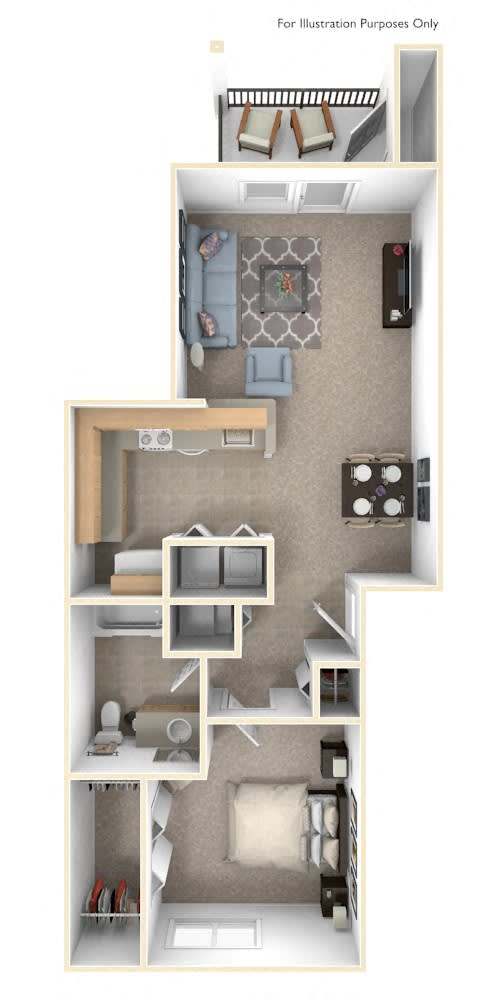 One Bedroom One Bath Floorplan at Fieldstream Apartment Homes, Iowa