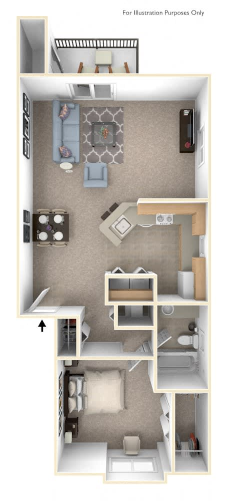 One Bedroom One Bath End Floorplan at Glenn Valley Apartments, Michigan, 49015