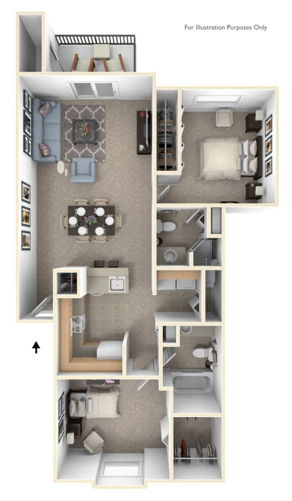 Traditional Two Bedroom Two Bath Floorplan at Glenn Valley Apartments, Michigan, 49015