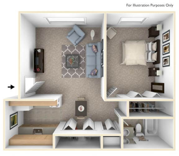 One Bedroom One Bath Floorplan at Granada Apartments, Jackson, Michigan