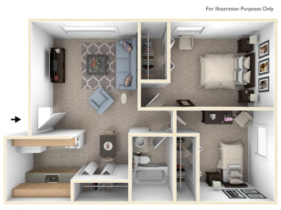 Two Bedroom One Bath Floorplan at Granada Apartments, Jackson, 49202