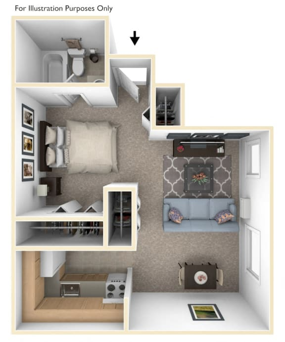 Studio Floorplan at Hickory Village Apartments, Mishawaka