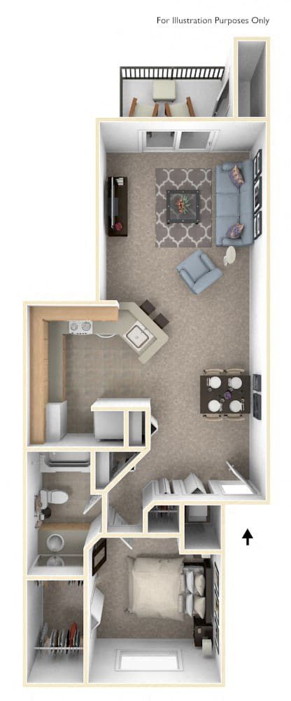 Front-to-Back One Bedroom Floor Plan at Irish Hills Apartments, South Bend, IN