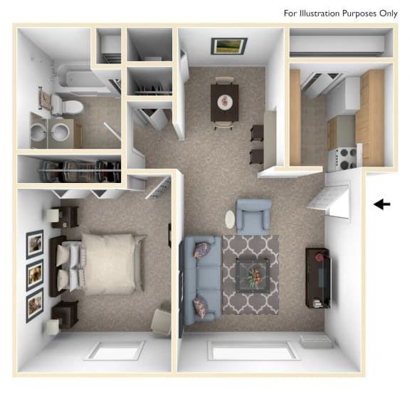Classic One Bedroom Floor Plan at Irish Hills Apartments, South Bend, IN