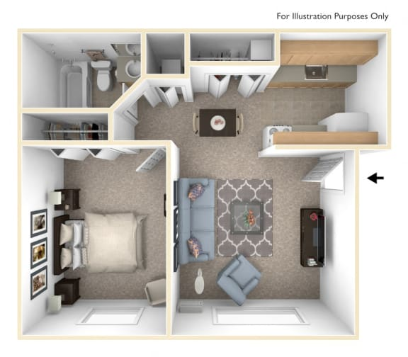 Standard One Bedroom Floor Plan at Irish Hills Apartments, South Bend, Indiana