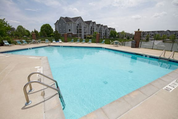 Large Outdoor Swimming Pool with Sundeck at Liberty Mills Apartments, Fort Wayne, IN 46804