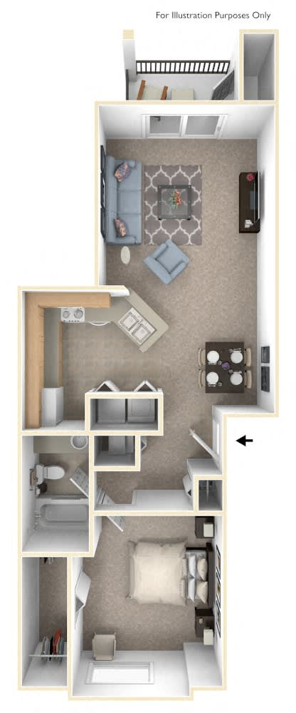 Traditional One Bedroom Floor Plan at Liberty Mills Apartments, Fort Wayne, Indiana