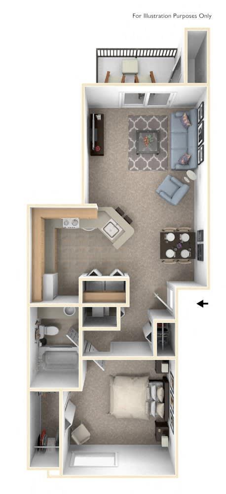 One Bedroom Floor Plan at Limestone Creek Apartment Homes, Alabama