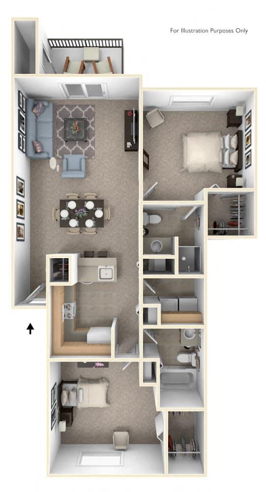 Two Bedroom Floor Plan at Limestone Creek Apartment Homes, Alabama, 35756