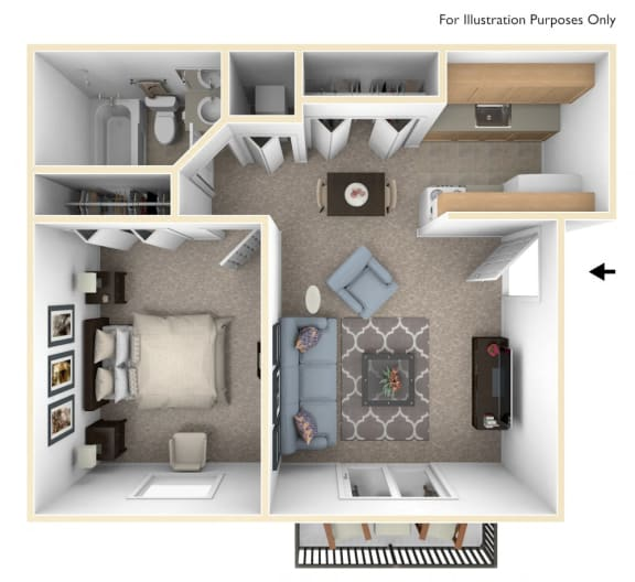 One Bedroom One Bath Floor Plan at Madeira Apartments, Michigan