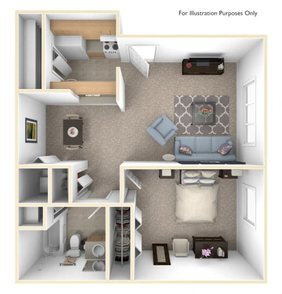1 Bed 1 Bath Alpine One Bedroom Floor Plan at Old Monterey Apartments, Springfield, MO, 65807
