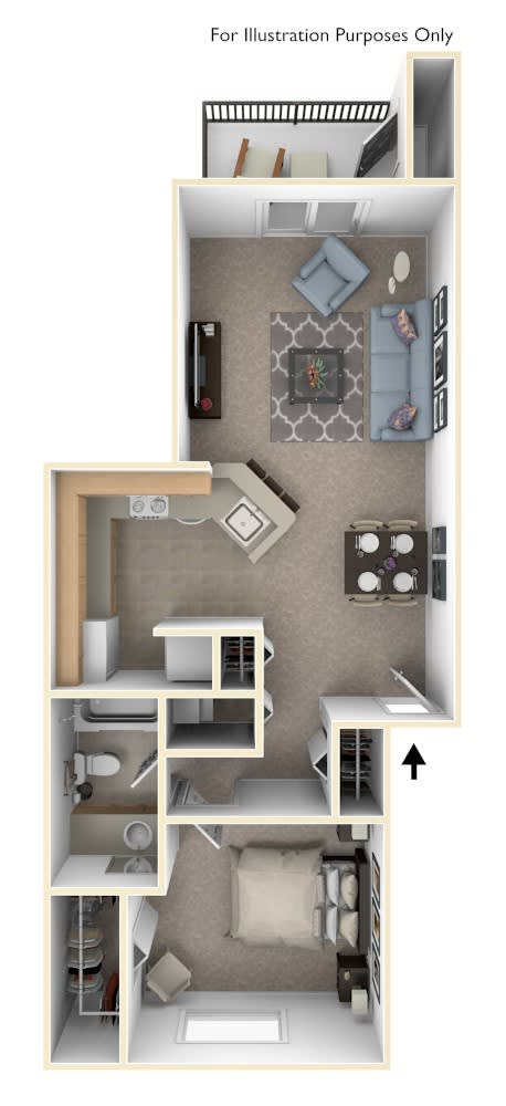 1 Bed 1 Bath One Bedroom Stackable Floor Plan at South Bridge Apartments, Fort Wayne, IN, 46816