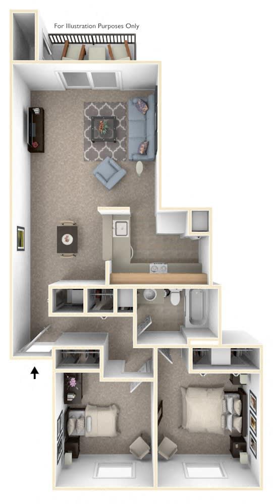 1 Bed 1 Bath Two Bedroom Walk- Through Floor Plan at Swiss Valley Apartments, Wyoming, MI, 49509