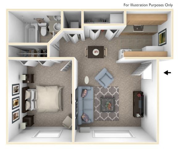 1 Bed 1 Bath One Bedroom Floor Plan at Swiss Valley Apartments, Wyoming, MI